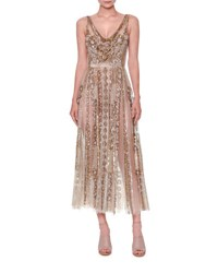 Valentino Sleeveless Sequined Tulle Gown Nude Gold