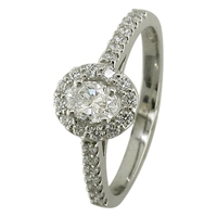 Ewa Platinum 0.62Ct Oval Cut Diamond Cluster Engagement Ring N