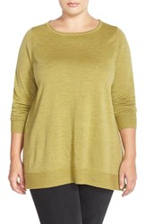Plus Size Women's Eileen Fisher Ballet Neck Boxy Merino Jersey Sweater Moss