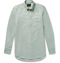 Drakes Easyday Slim Fit Button Down Collar Cotton Oxford Shirt Light Green