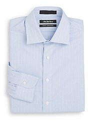 Saks Fifth Avenue Slim Fit Windowpane Check Cotton Dress Shirt Blue White