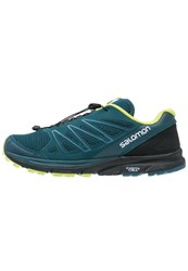 Salomon Sense Marin Trail Running Shoes Reflecting Pond Black Lime Punch Dark Green