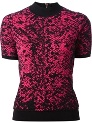 Christopher Kane Snakeskin Intarsia Sweater Pink And Purple