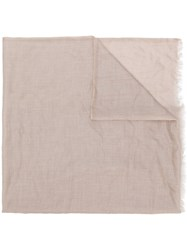 Eleventy Frayed Hem Plain Scarf Nude And Neutrals