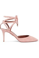 Aquazzura Uma Lace Up Suede Pumps Baby Pink