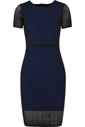 Line Foster Perforated Stretch Knit Mini Dress Royal Blue