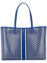 Tory Burch Large Chain Print Tote Bag Blue