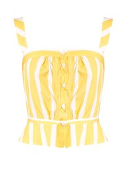 Thierry Colson Rossa Striped Peplum Cotton Poplin Cami Top Yellow Multi