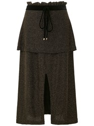 Olympiah Knitted Tiered Slit Skirt Black