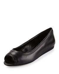 Cole Haan Elsie Leather Open Toe Flat Black