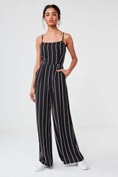 Urban Outfitters Uo Striped Wide Leg Jumpsuit Black White