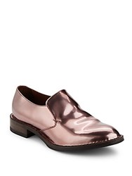 Brunello Cucinelli Metallic Leather Loafers Shiny Pink
