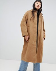 Weekday Long Mohair Wool Coat Brown