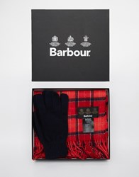 Barbour Scarf And Glove Gift Set Red