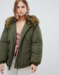 Only Faux Fur Hooded Oversized Jacket Forest Night Green