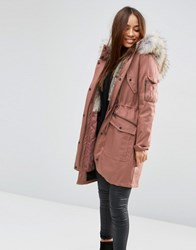 Asos Parka With Detachable Faux Fur Liner Dusty Pink