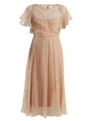 N 21 Floral Embroidered Chiffon Dress Nude