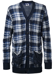Junya Watanabe Comme Des Garcons Man Distressed Plaid Cardigan Blue