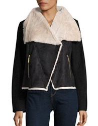 Betsey Johnson Faux Fur And Faux Suede Wool Coat Black Cream