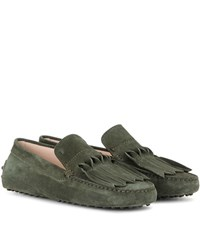 Tod's Gommini Frangia Origami Suede Loafers Green