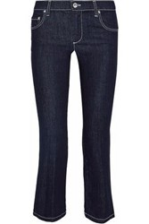 Red Valentino Cropped Mid Rise Bootcut Jeans Dark Denim