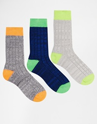 Asos 3 Pack Boot Socks With Neon Heel And Toe Grey