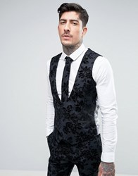 Noose And Monkey Super Skinny Db Waistcoat In Flocked Floral With Stretch Black Grey