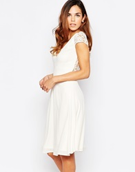 Elise Ryan Skater Dress With Lace Sleeves And Open Lace Back Cream