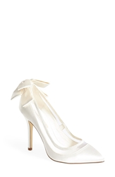Menbur 'Lua' Satin And Mesh Pointy Toe Pump Women Ivory