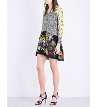 Sandro Floral Contrast Panel Crepe And Silk Crepe Dress Multi Color