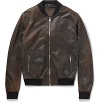 Dolce And Gabbana Distressed Leather Bomber Jacket Brown