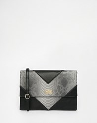 Glamorous Faux Snake Clutch Bag Black Snake