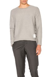Thom Browne Engineered Rope Stitch Long Sleeve Tee In Gray