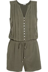 Splendid Pleated Voile Playsuit Army Green