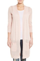 Women's Halogen Long Linen Blend Cardigan Pink Peach