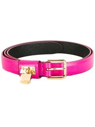 Dolce And Gabbana Padlock Belt Pink Purple