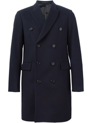 Paul Smith London Double Breasted Coat Blue