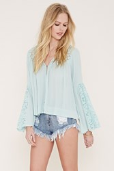 Forever 21 Lace Paneled Crepe Top Mint