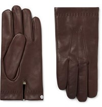 Mulberry Cashmere Lined Leather Gloves Dark Brown