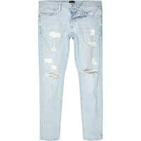 River Island Mens Light Blue Stonewash Ripped Sid Skinny Jeans