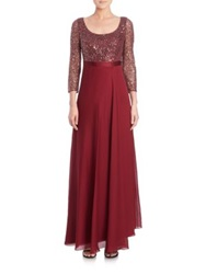 Kay Unger Sequined Three Quarter Sleeve Chiffon Gown Red