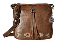 American West Native Sun Crossbody Distressed Charcoal Brown Sand Golden Tan Turquoise Cross Body Handbags