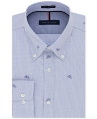 Tommy Hilfiger Men's Slim Fit Non Iron Azure Bicycle Print Dress Shirt