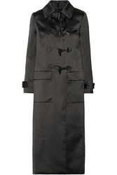 Adam By Adam Lippes Leather Trimmed Duchesse Satin Duffle Coat