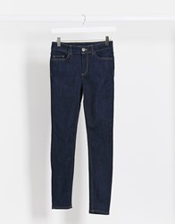 Pieces Delly High Waisted Skinny Jeans In Dark Blue