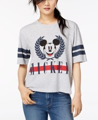 Mighty Fine Juniors' Mickey Mouse Varsity Graphic T Shirt Ash Heather