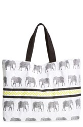 Shiraleah 'Sahara' Elephant Print Canvas Tote White