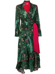 F.R.S For Restless Sleepers Printed Wrap Kimono Dress Green
