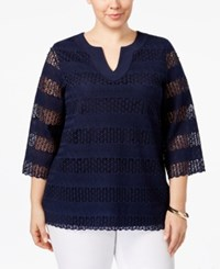 Charter Club Plus Size Lace Tunic Only At Macy's Intrepid Blue