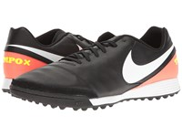 Nike Tiempo Genio Ii Leather Tf Black White Hyper Orange Volt Men's Soccer Shoes